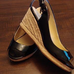 Coach peep toe wedges size 6
